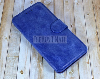 FREE SHIPPING - Blue iPhone 6-Plus Wallet Case - Leather