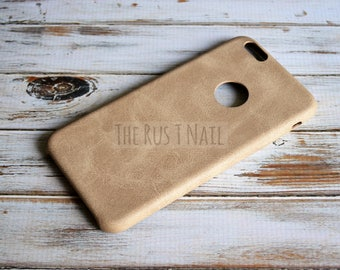 FREE SHIPPING - Personalized Beige iPhone 6s Plus Ultra Slim Leather Case