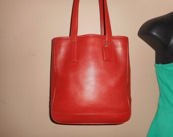 COACH Vintage 10 x 11 x 3.5 Red Leather Hampton Lunch Tote Bag #H2J-7776