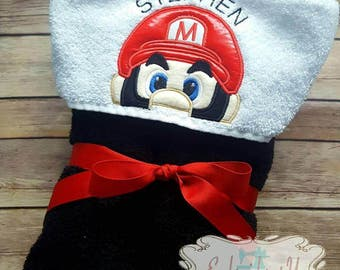 Mario Character Hooded Towel Super Mario Bath Towel Beach Towel Embroidered Towel Personalized Towel