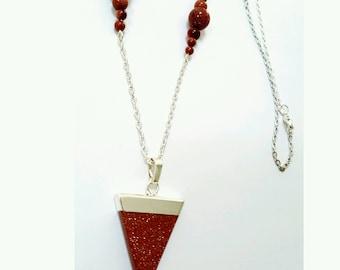 goldstone triangle pendant necklace, goldstone beaded necklace, gemstone pendant necklace