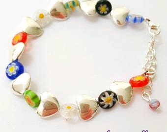 Millefiori beaded bracelet, silver heart and glass bead bracelet, millefiori glass beaded bracelet, millefiori jewelry, glass beaded jewelry