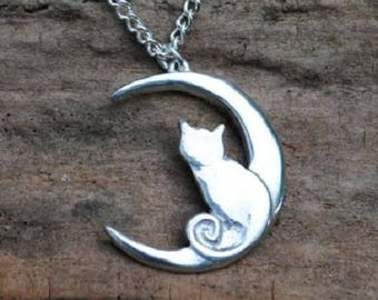 Cat and Moon Pendant