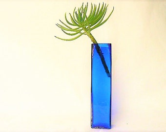 """Cobalt Blue Glass Bud Vase - Square Shaped, Skinny and Tall Flower Vase - Minimalist Style Dark Blue Display Glass Container 8"""" Tall x1 3/4"""""""