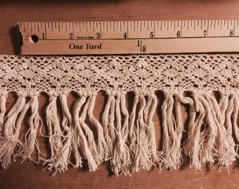 Crochet Lace Tassel Trim with Fringe in Cotton