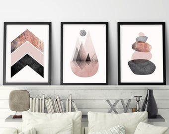 Set of 3 Prints, Printable Art, Scandinavian Modern, Scandinavian Print, Scandinavian, Minimalist Poster, Minimalist Print, Blush, Rose Gold