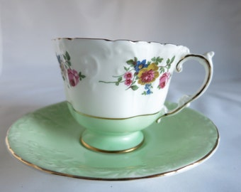 Vintage Harleigh Bone China Tea Cup and Saucer Made in England Staffordshire Tea Time Gift for Her Cottage Chic