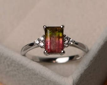 Watermelon tourmaline ring, engagement ring, emerald cut, silver, unique ring