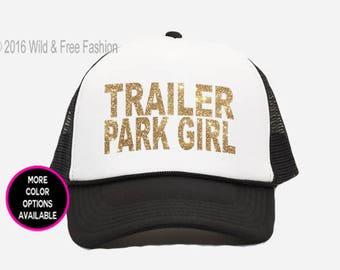 Trailer Park Girl Snapback Trucker Cap   Trailer Park Hat   Camping snapback hat