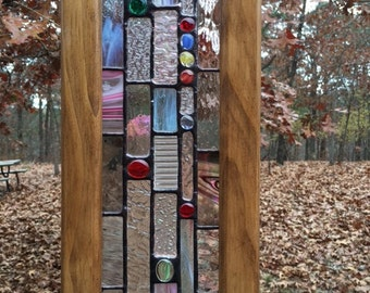 Hanging stained glass sun catcher with clear glass, stained glass nuggets, and wooden frame