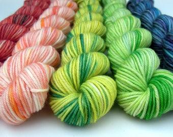 Mini Skein Set - Some Kind of Rainbow - Gumboot sock - 80wool/20nylon, Sock Yarn/4ply/Fingering. 20grams x 5=374metres - Ready to Ship