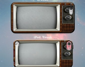 Old School TV Vintage Television Set Screen Rubber Case for iPhone 7 Plus iPhone 7 iPhone 6s 6 Plus iPhone 5s 5 5c iPhone SE iPod Touch