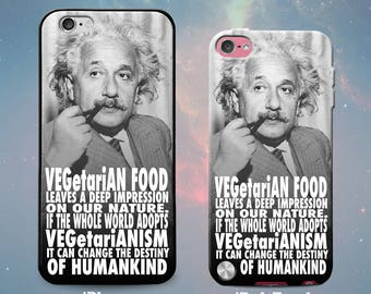 Albert Einstein Quote Vegan Vegetarian Slim Rubber Case Cover Skin for iPhone 5 5s 5c SE 6 6s 7 Plus or iPod Touch 6th 5th Gen