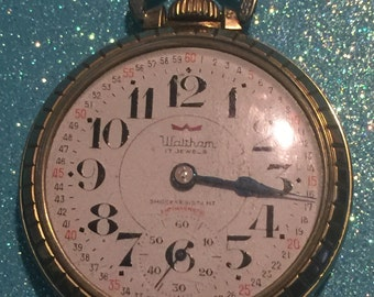 Swiss Waltham 17 Jewel Pocket Watch Size 16