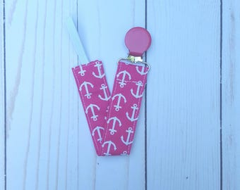 Pink anchors pacifier clip for girls- pacifier holder for girls, nautical baby, mam nuk soothie gumdrop, baby accessory, baby gift, B3G1