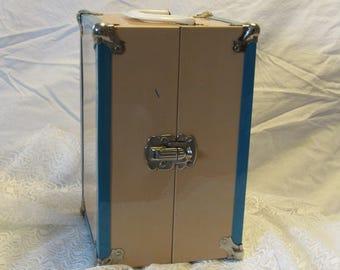Vintage Doll Case Vintage Metal Travel Steamer Trunk Doll Carrier Metal Hinged box Tan and Blue