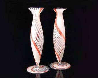2 Old Bimini Art Glass Lauscha White Orange Swirl Miniature Vases