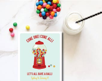 Retro Gumball Machine DIY Printable Childrens Birthday Party Invitation