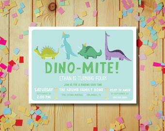 Dino-Mite! Aqua DIY Printable Dinosaur Birthday Party Invitation