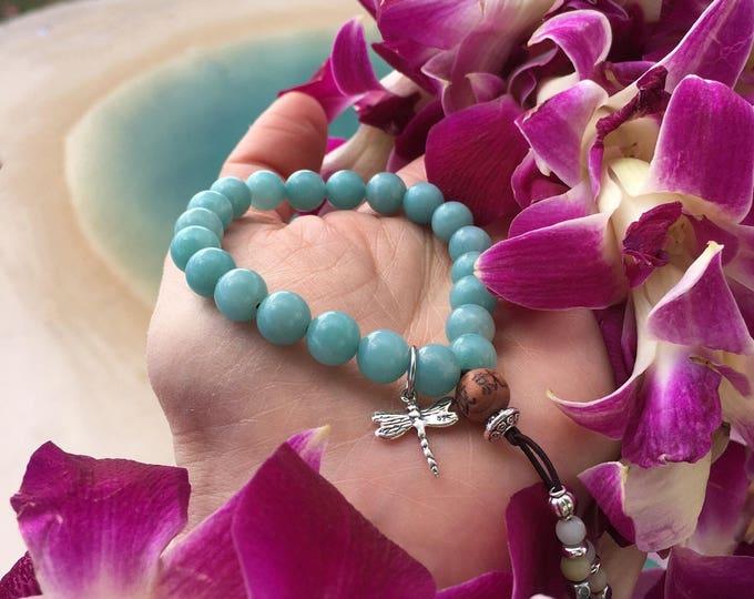 Featured listing image: NEW Divine Dragonfly Bracelet | Women's Mala Beads | Mala Bracelet | Yoga Jewelry | Luxury Amazonite | Natural Healing Gemstones | Reiki