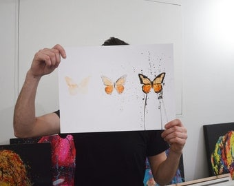 Butterfly Art Painting Study - 'Evolution of a Butterfly' - Acrylic and ink painting on A3 Mixed Media Paper
