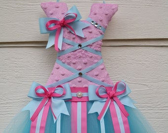 Coral tutu bow holder. Hair clip holder. Girls bow holder. Customized tutu bow holder. Cute Christmas, birthday, baby shower gift