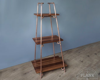 Copper Pipe Freestanding Pyramid Shelves in an Industrial / Urban / Vintage Style. 3 section Shelf Unit with African Sapele Hardwood.