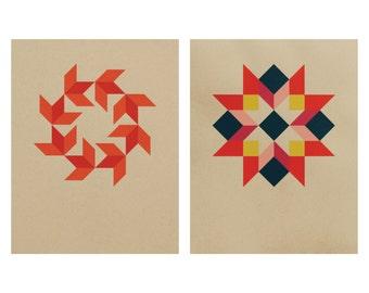 Geometric Screenprint Set / Morning Star and Wreath