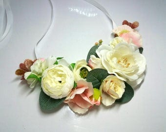 Flower necklace Floral necklace  Handmade necklace  Summer necklace Wedding necklace White flower necklace