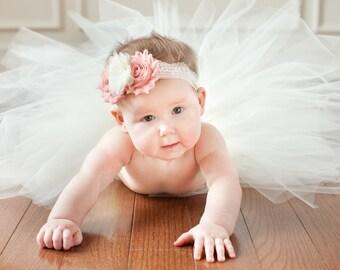 Harlequin Rose and Lace Vintage Headband / Baby Headband/ Baby Girl Headband / Toddler Headband / Infant Headband / Baby Girl Bows