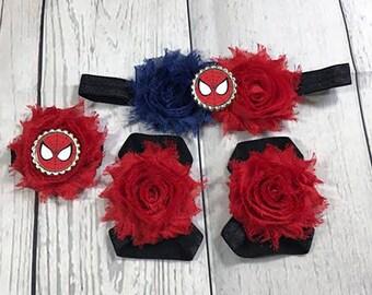 Baby Headband / Baby Girl Headband / Spider Man / Spider Man Headband / Headband Set / Birthday Headband / Baby Bows / Girls Hair Bows /