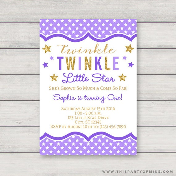 Twinkle Twinkle Little Star Invitation Printable Purple and Gold