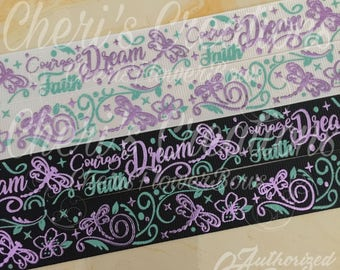 "7/8"" Dragonfly Dreams - Courage - Faith - Purple Foil - Glitter Ink - U.S.DESIGNER - High Quality Grosgrain Ribbon - By The Yard"