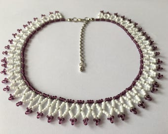 Handmade beaded Necklace, made with seed beads
