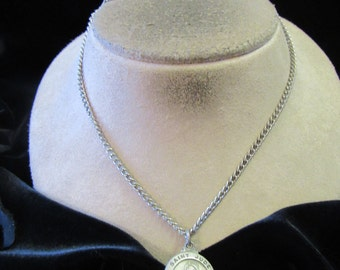 Vintage Religious Signed Pewter St Jude Pendant Necklace