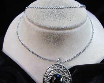 Vintage Signed Avon Black Rhinestone Glace Pin/Pendant Necklace