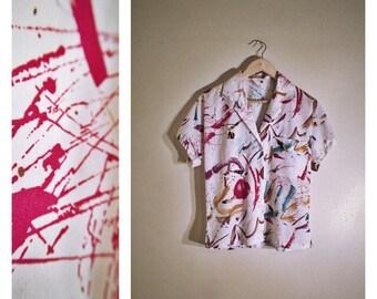"80s abstract / paint splatter ""Shapely"" short-sleeved summer blouse"