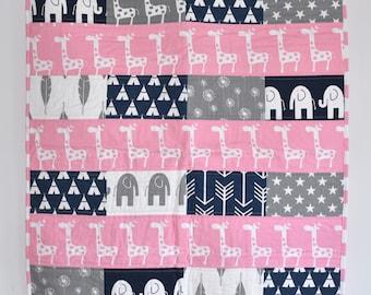 SHIPS TOMORROW! SALE-  Giraffes on Pink and Navy, modern nursery, safari, elephants, giraffe,  girl nursery, custom quilt, navy and pink