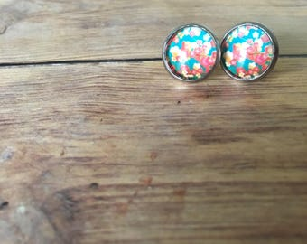Pink and Blue Floral Glass Dome Earrings - Flower Earrings - Pink Floral Earrings