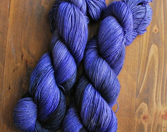 Black & Lavender, Hand Dyed Yarn, Yak Sock