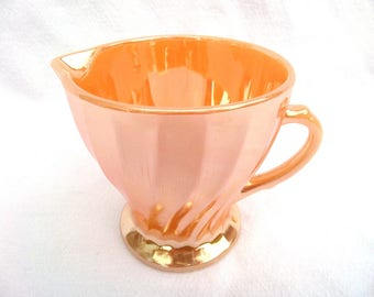 "Anchor Hocking Fire King, Peach Lustre, Peach Luster, Iridescent Swirl Creamer, 1940's Suburbia Range, Immaculate Condition, 4.5"" x 3.5"""