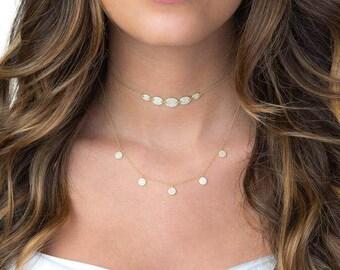 Pave Disc Necklace | Gold Disc Necklace | Gold Pave Necklace | Pave Necklace | Gold Necklace | Layered Necklace | Layering Necklace | Gift
