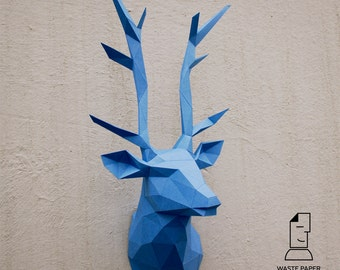 Papercraft deer head 1 - printable DIY template