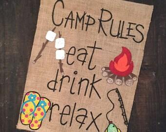 Camping garden flag/camping burlap flag/camper decor/camping flag/camper flag/camp rules/camp rules sign/camper sign