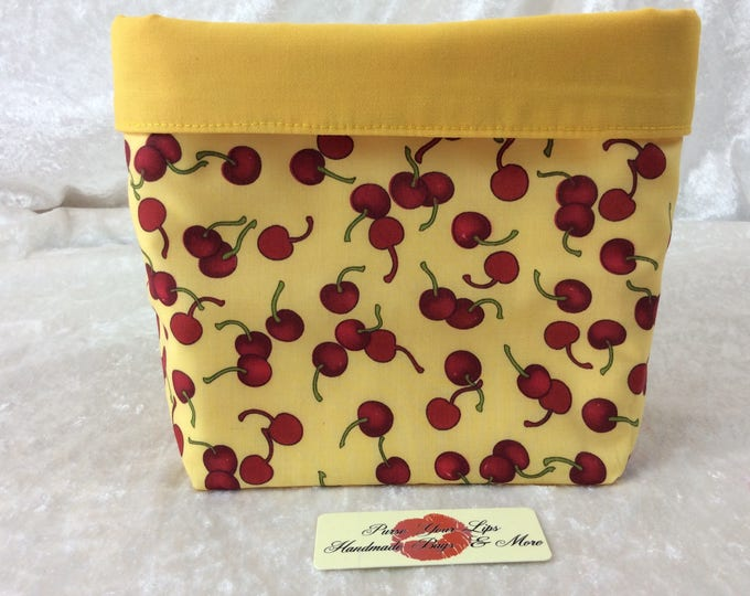 Cherries Fabric basket tall  reversible organiser bin storage. Handmade in England