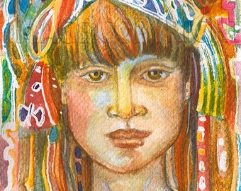 "Goddess series, ""Wise Girl Goddess"" , Art Print ,, from original watercolor,"