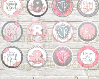 LDS Baptism Party Cupcake Toppers, Food Labels, Decorations, Digital Printable, Blush Gray Watercolor - Instant Download - Can Customize