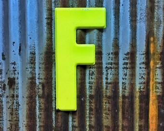 Vintage Metal Marquee Sign Letter, Metal Letter F, Industrial Metal Letter, Sign Letter