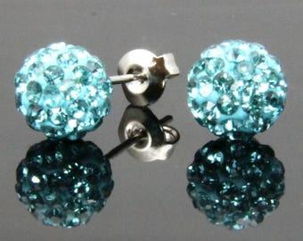 Sterling Silver (.925 stamped) Austrian Rhinestone Blue-Green Ball Stud Earrings
