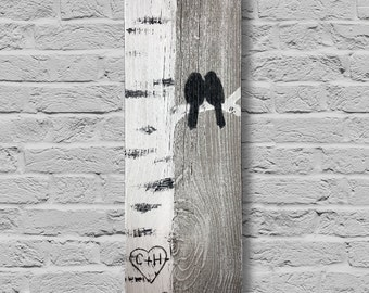 Birch Tree Love Birds Wall Decor